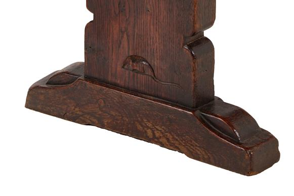 Robert Mouseman Thompson (1876-1955): A Pair of 6ft Oak Benches, on three shaped supports, joined by - Image 3 of 3