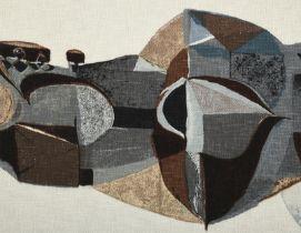 Alan Reynolds (1926-2014) ''Weald'' (1959) Screen printed cotton for Edinburgh Weavers, 38cm by 49cm