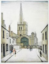 After Laurence Stephen Lowry RBA, RA (1887-1976) ''Burford Church'' Signed and numbered 259/850,