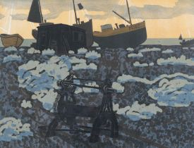Graham Clarke (b.1941) ''Dungeness'' Signed, inscribed and numbered 19/75, linocut, 58.5cm by 69.5cm