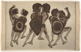 Dame Elisabeth Frink CH, DBE, RA (1930-1993) ''Warriors'' (1960) A Jacquard weave woollen panel