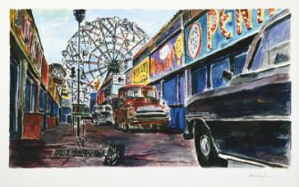 Bob Dylan (b.1941) American ''Amusement Park'' Signed and numbered 142/295, giclee print from ''
