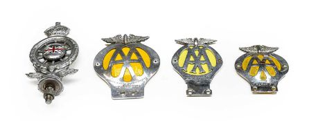A Vintage AA Car Bonnet Mascot, with enamelled badge, winged emblem and crown, numbered MCB20032;