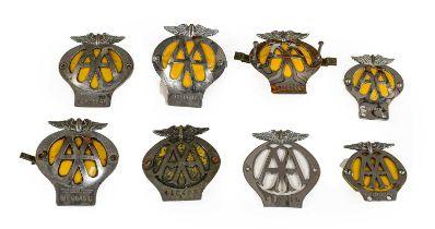Eight Chromed AA Badges, of assorted eras