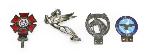 A 1920/30 Nickel-Plated Pegasus Car Mascot, 12cm high; A Red Enamelled Order of the Road Car
