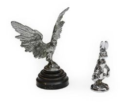 A Chrome on Brass Hare Car Mascot, probably from an Alvis, 12cm high; and A Chrome Plated Eagle