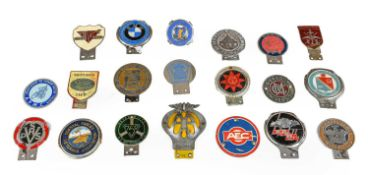 Twenty Chromed Metal and Plastic Car Badges, to include Forces' Motoring Club, The Vintage Transport