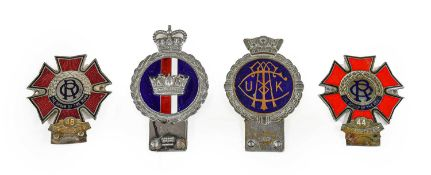 J R Gaunt, London: A Chrome Plated and Enamelled Car Badge, surmounted by a crown; A JR Gaunt Blue