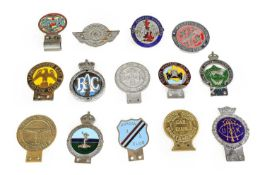 Fourteen Chromed and Brass Car Badges, to include JR Gaunt London blue enamel example, Manchester