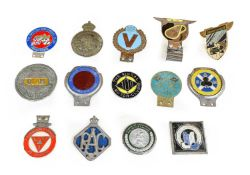 Fourteen Chromed Metal Car Badges, to include The Wirral 100 Motor Club, South Cheshire & Crewe