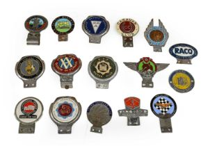 Sixteen Assorted Chromed and Enamel Car Badges, to include ESP Motor Club, The Vanguard Owners'