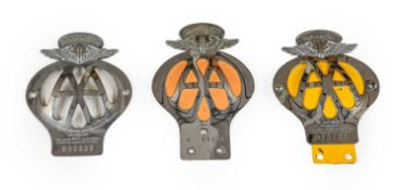 Three Chromed AA Car Badges, for Malaya, South Africa and Rhodesia