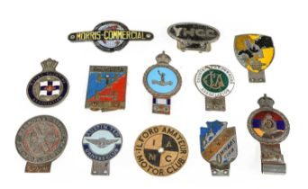 Twelve 1920/30 and Later Chromed Car Badges, to include Austin 10 Drivers' Club, Leeds Bond