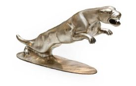 A Reproduction Cast Metal Showroom Mascot, as a leaping jaguar, on an oval base, 31cm high