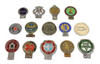 Fourteen Chrome and Brass Car Badges, to include Motor Lancia Club, Worthing & Southern Counties