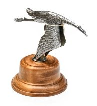 A 1920/30 Chromed Hispano Suiza Style Flying Stork Car Mascot, as a stylised bird with legs