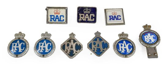 Nine RAC Chromed Metal and Plastic Members' Badges, including a blue enamelled example and a