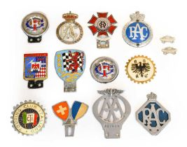 Fourteen Assorted Metal, Chromed and Plastic Car Badges, to include RAC, British Automobile Racing