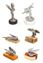 Six Assorted Chromed Metal Car Mascots, to include a 1938 Triumph Dolomite, a Wolseley, a 1938