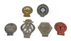 Six Early 20th Century Car Badges, to include Salop Yesteryear Motor Club, The Lancashire Automobile