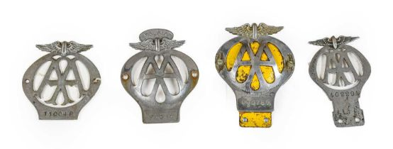 A Malaya AA Car Badge, numbered N7919; Two 1930's AA Car Badges; and A Later Chromed Example (4)