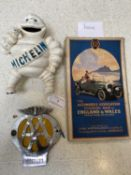 Michelin cast metal money box, AA badge and...