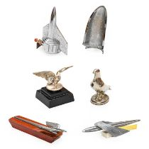 Six Assorted Car Mascots, to include a 1950 Humber Super Snipe, a 1949 American Ford Mercury, a
