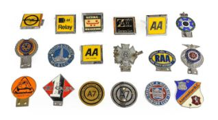 Eighteen Assorted Chromed Metal and Plastic Car Badges, to include Fellowship of Riders, The Pre-War