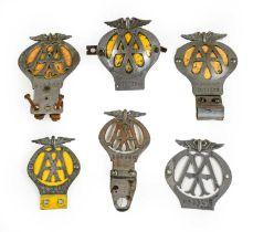 Six Chromed Metal AA Badges, of assorted eras