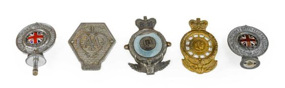 A 1920/30 AA Car Badge: Three Chromed RAC Badges/Mascots, including to enamel examples; and A