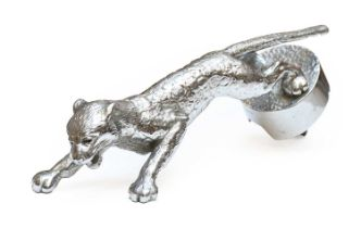 Desmo, A 1930's Jaguar Car Mascot, chrome on brass, with paws outstretched landing on a circular