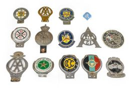 Fourteen Assorted Chromed and Enamel Car Badges, to include AA Rhodesia Members' Club, Edward VII