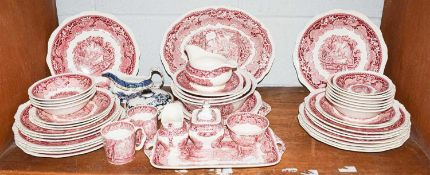 A Masons dinner and tea service in the Vista pattern, a Wedgewood Susie Cooper tea set in Blue