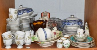 A quantity of assorted ceramics and glass, to include: a 19th century pearlware press moulded
