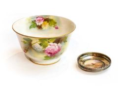 Royal Worcester and silver-mounted dish by James Stinton, painted with highland cattle and a Royal