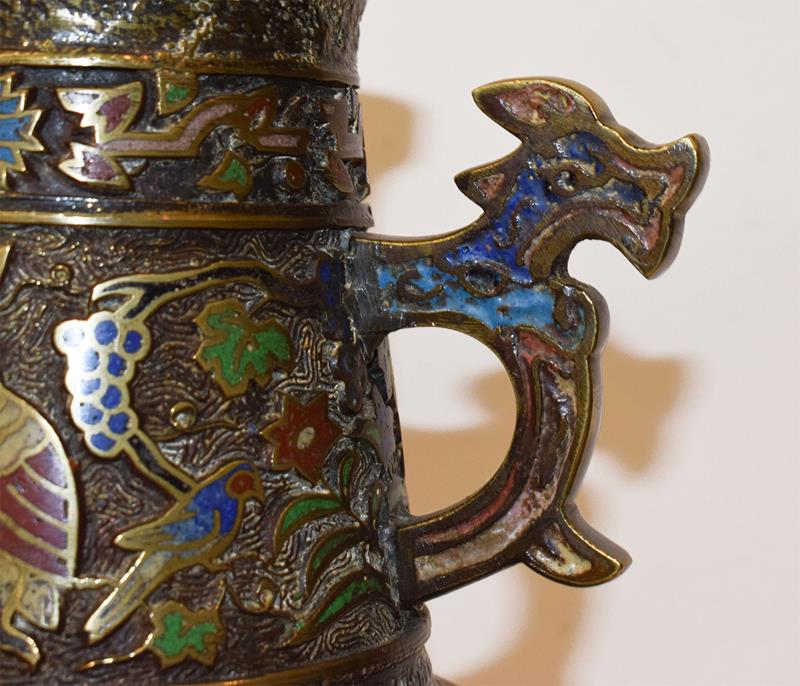 A Japanese twin handled bronze vase with champleve enamel decoration, 30cm, together with a koro - Image 24 of 25