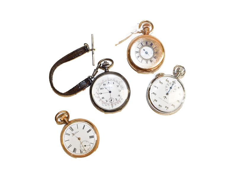 Two gold plated pocket watches signed Waltham, single push chronograph pocket watch with case