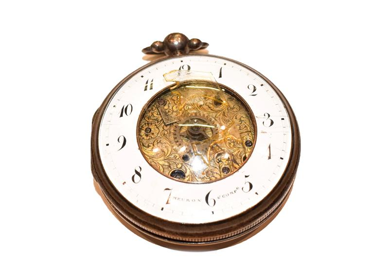 A continental skeleton dial centre pocket watch, signed Meuron Comp, 19th century