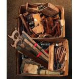 Two boxes of antique woodworking tools including moulding planes
