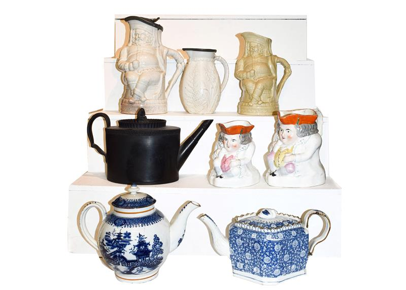A quantity of 19th century pottery including pearlware teapots, a black basalt teapot, Staffordshire
