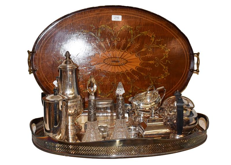 An Edwardian mahogany marquetry inlaid tea tray, assorted silver plated wares including gallery