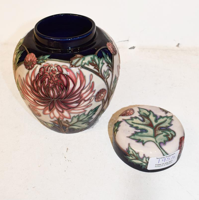 A modern Moorcroft Chrysanthemum pattern ginger jar and cover, designed by Carole Lovatt, 15.5cm and - Image 4 of 7