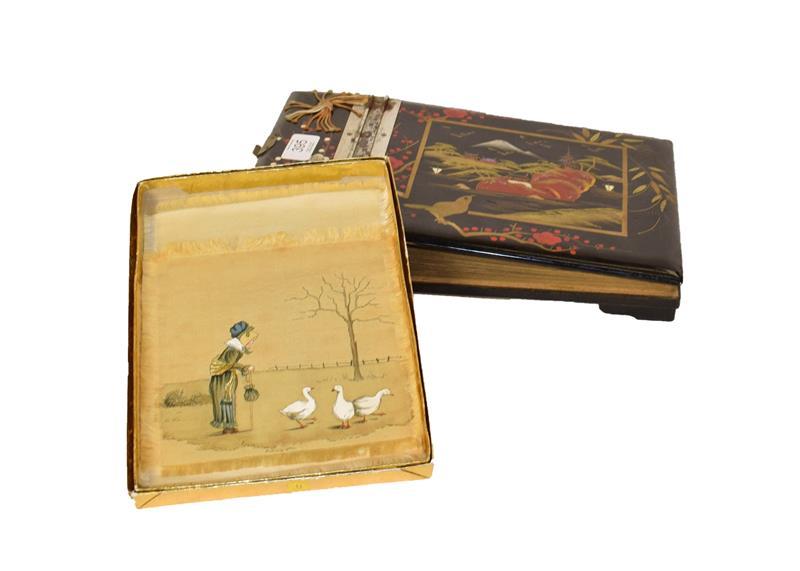Various decorative textiles and a Japanese musical album