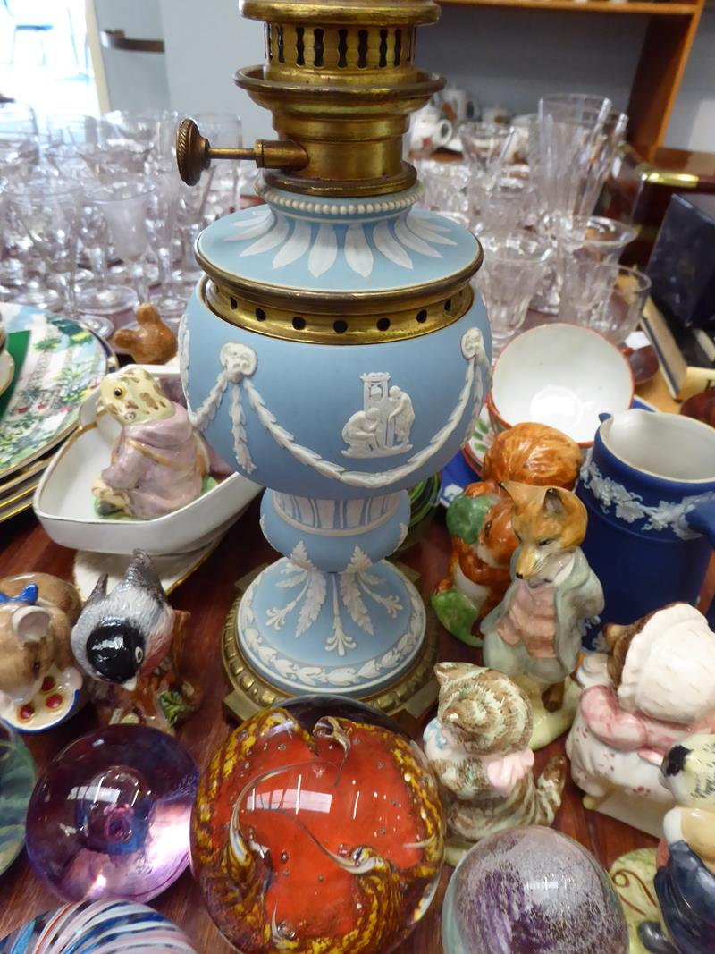 A 19th century pale blue Jasperware oil lamp, a quantity of various paperweights by Caithness and - Image 4 of 4