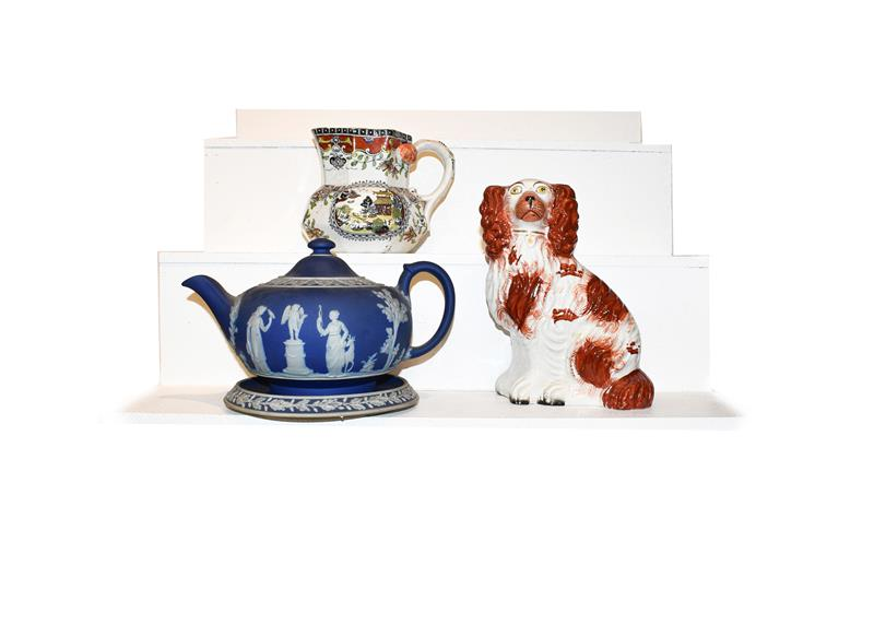 A quantity of 19th century pottery including pearlware teapots, a black basalt teapot, Staffordshire - Image 2 of 2