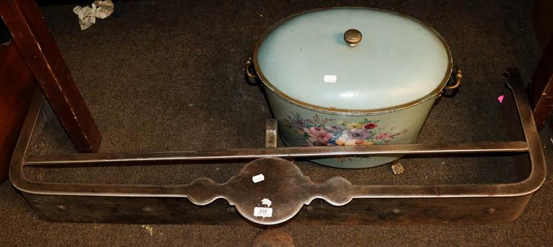 A Georgian steel fire fender 122cm, together with a tole work coal box, pale blue ground and