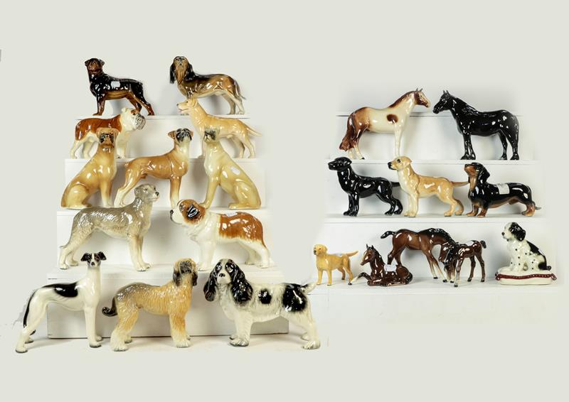 Beswick Dales Pony ''Maisie'', model No. 1671, black gloss, three Beswick foals in brown gloss and a