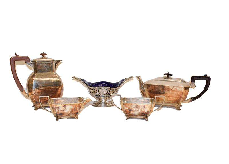 A collection of silver and silver plate, the silver comprising a basket with a blue glass liner by