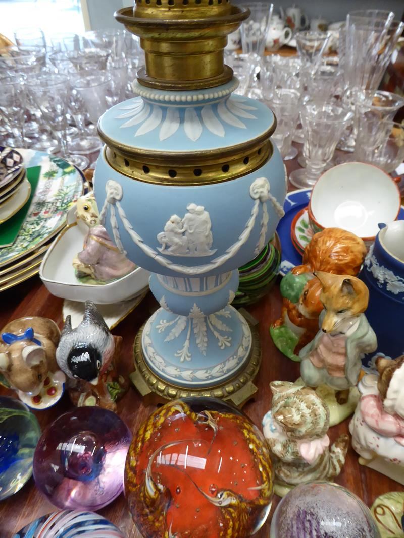 A 19th century pale blue Jasperware oil lamp, a quantity of various paperweights by Caithness and - Image 2 of 4