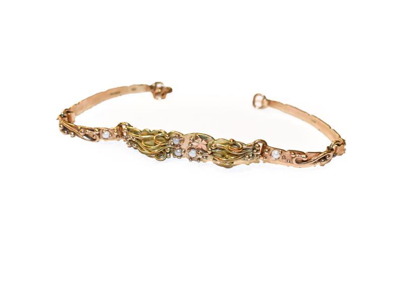 A 9 carat gold fancy link bracelet, length 17cm. Gross weight 10.4 grams.